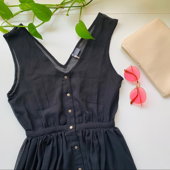 0c85e4abf3 Semi-Sheer Button Up Maxi Dress - Black
